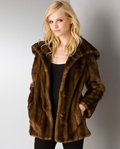 Aqua Faux Mink Fur Coat