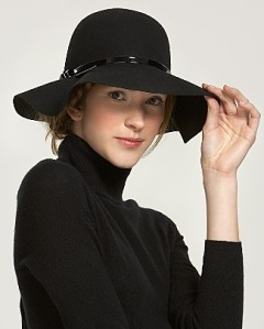 Aqua Floppy Felt Hat with Patent Trim