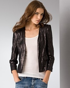 Aqua Sequined Strong-Shoulder Jacket